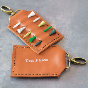 Personalised Leather Golf Tee Holder - keyrings