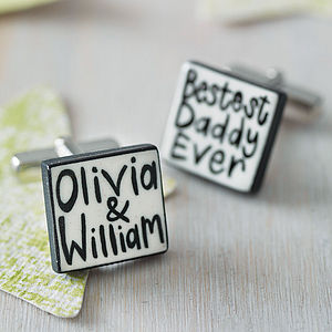 Personalised 'Bestest Daddy Ever' Cufflinks - cufflinks