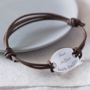 Personalised Oval Plate Bracelet - gifts for him sale