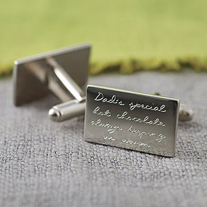 Personalised Engraved Message Silver Cufflinks - wedding jewellery