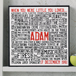 Personalised 'Loves' Typographic Artwork - prints & arts