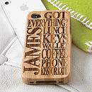 Thumb personalised wooden iphone cover