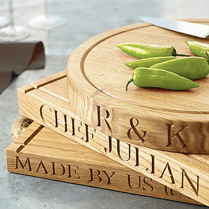Personalised Oak Chopping Board - modern country kitchen