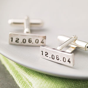 Personalised Rectangle Silver Cufflinks - 25th anniversary: silver