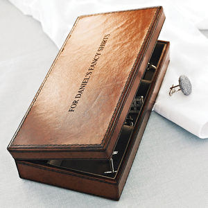 Personalised Leather Cufflink Box - free delivery gifts