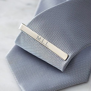 Silver Tie Clip - personalised gifts for him