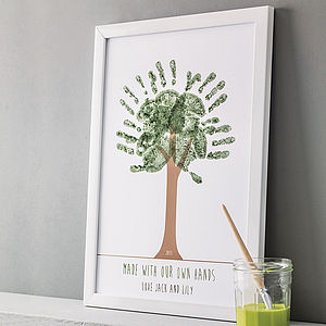 Personalised Hand Print Tree Poster - gifts for fathers