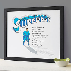 Personalised 'Superdad' Print - prints for all personalities