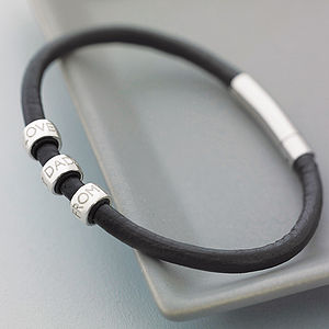 Personalised Men's Leather Bracelet - gifts for him