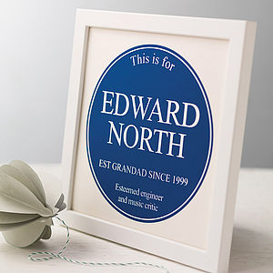 Personalised Framed Plaque Print - typography