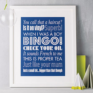 Personalised Family Sayings Print - 60th birthday gifts