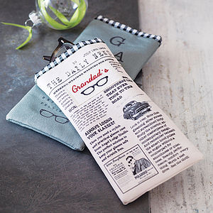 Men's Newsprint Glasses Case - gifts for grandparents
