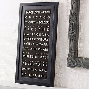 Personalised Destination Print - gifts for couples