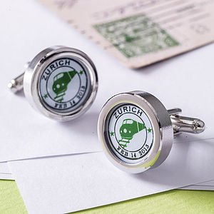 Personalised Travel Stamp Cufflinks - gifts for him