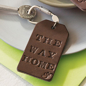 Personalised Leather Keyring - frequent traveller