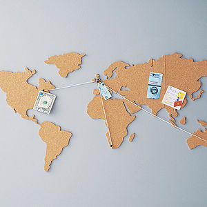 World Map Cork Noticeboard - gifts under £25