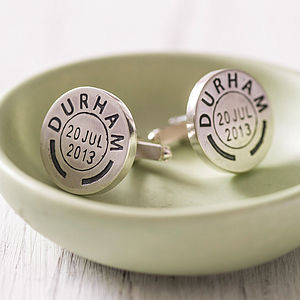 Personalised Vintage Style Postmark Cufflinks - groomed to perfection