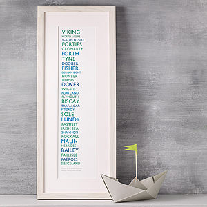 The Shipping Forecast Print 51cm - treasured locations & memories