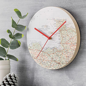 Personalised Map Clock - frequent traveller