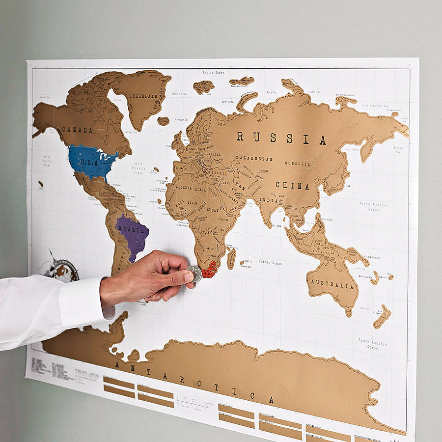 Scratch Off Push Pin World Map Bundle By Luckies - Framed scratch world map