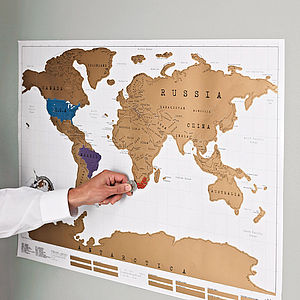 Scratch Off World Map Poster - for young men