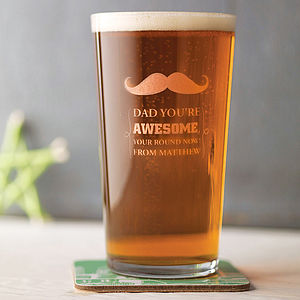 Personalised Etched Pint Glass - gifts for him