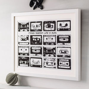 Personalised Playlist Cassette Print - for music fans