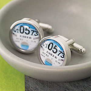 Personalised Tax Disc Cufflinks - jewellery gifts for fathers