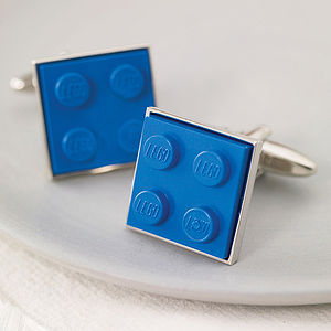 Building Brick Cufflinks Blue - gifts