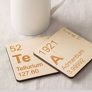 Pair Of Wooden Periodic Table Coasters - stocking fillers under £15