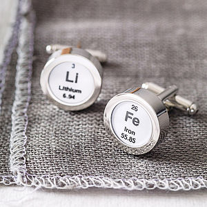 Periodic Table Cufflinks - men's jewellery