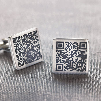 Personalised Secret Message Qr Code Cufflinks