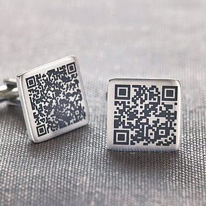 Personalised Secret Message Qr Code Cufflinks - cufflinks