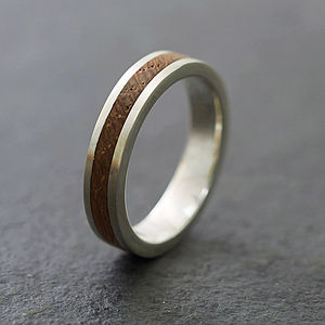 'Native' Silver And Wood Ring - for your other half