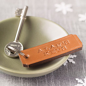 Personalised Leather Keyring - stocking fillers under £15