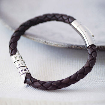 Personalised Open Scroll Leather Bracelet