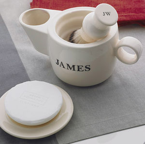 Personalised Shaving Scuttle And Soap Dish