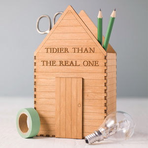 Personalised Garden Shed Desk Tidy Gift For Him - diaries, stationery & books