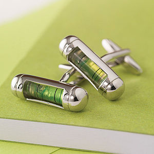 Spirit Level Cufflinks - gifts under £50 for him