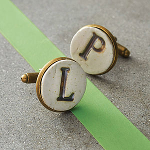 Personalised Ceramic Cufflinks - for your other half