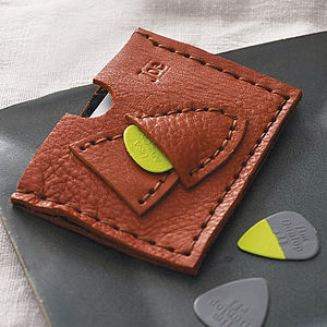Tan Personalised Plectrum And Card Holder - mens