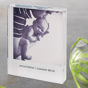 Personalised Photo Acrylic Block - first father's day