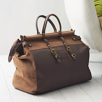 Eureka Leather And Canvas Gladstone Bag