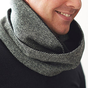 Harris Tweed Loop Scarf - gifts for him