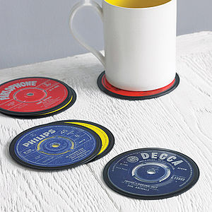 Set Of Six Vinyl 45 Record Coasters - gifts for grandparents