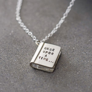 'Once Upon A Time' Silver Story Book Necklace - for writers & book-lovers
