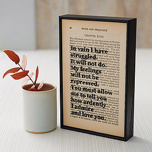 Framed Pride And Prejudice Book Page - gifts under £25