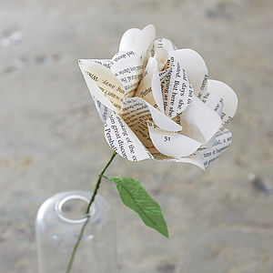 Literary Paper Rose - silk & paper flowers