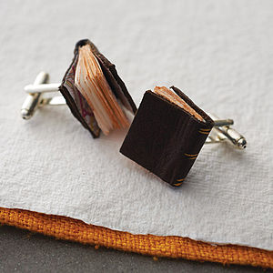Leather Book Cufflinks - jewellery for her