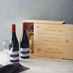 Personalised Christmas Wine Box - gifts under £50 for him